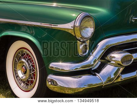 DEARBORN MI/USA - JUNE 18 2016: Close up of a 1953 Oldsmobile 98 car at The Henry Ford (THF) Motor Muster car show, held at Greenfield Village, near Detroit, Michigan.