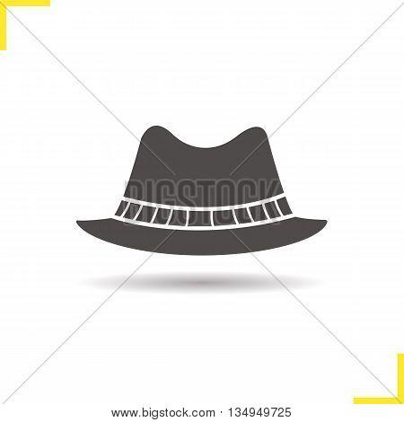 Men's hat icon. Drop shadow homburg silhouette symbol. Men's formal attire hat. Vector isolated illustration