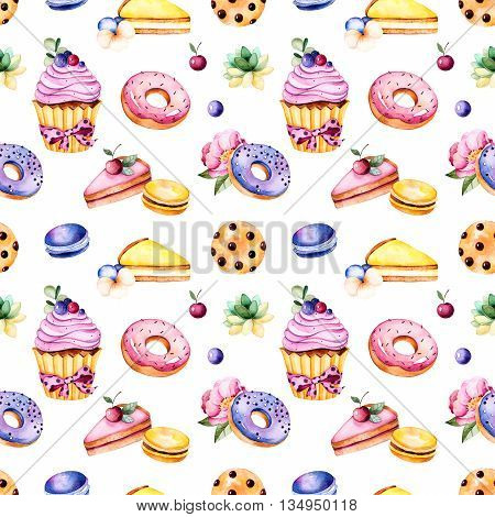 Seamless pattern with peony flower, leaves, succulent plant, tasty  cupcake, pansy flower, macaroons, donuts, cookies, lemon and cherry cheesecakes, berries.