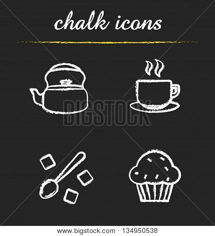 Tea and coffee icons set. Kettle, steaming cup, spoon with raffinade sugar and muffin illustrations. Coffee and tea isolated vector chalkboard drawings