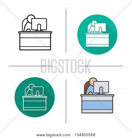 Secretary icon. Flat design, linear and color styles. Office worker. Reception isolated vector illustrations