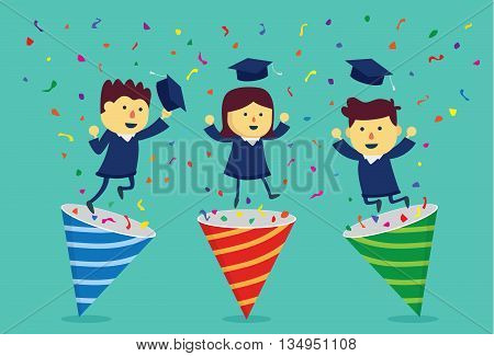 Student in academic dress exploding out of party popper. This illustration about celebrate graduate.