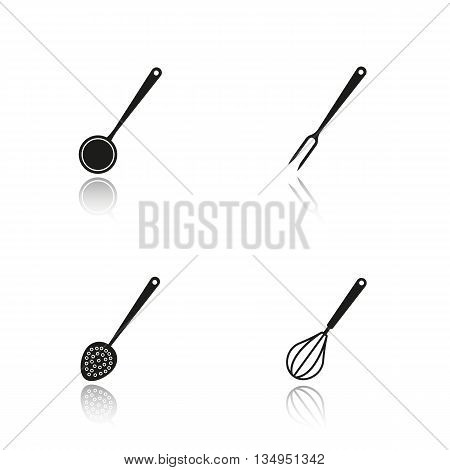 Kitchenware drop shadow black icons set. Ladle, carving fork, skimmer and whisk. Isolated vector illustrations