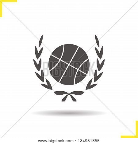 Basketball ball in laurel wraith icon. Drop shadow silhouette symbol. Basketball championship. Vector isolated illustration