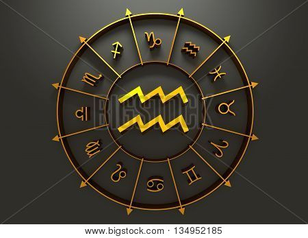 Water bearer astrology sign. Golden astrological symbol in the circle of others sings. 3D rendering