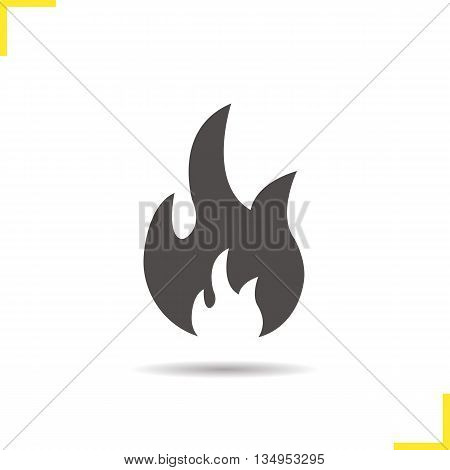 Flammable icon sign. Drop shadow fire silhouette symbol. Vector isolated illustration
