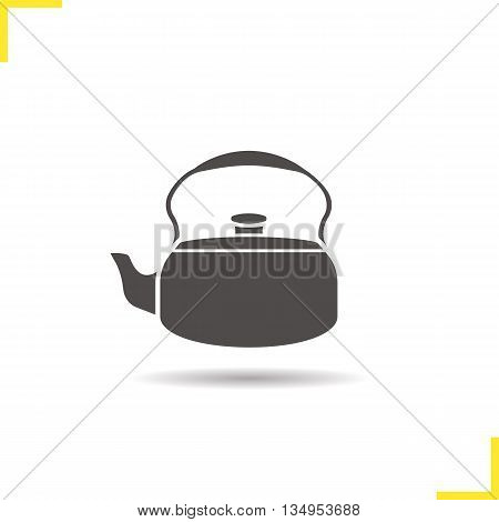 Kettle icon. Drop shadow silhouette symbol. Kettle. Vector isolated illustration