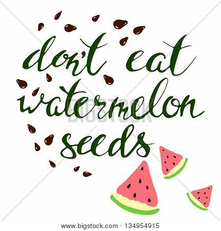 Vector watermelon and seeds. Hand draw leterring.Pregnancy