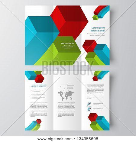 colored 3d squares brochure design template folder leaflet white background