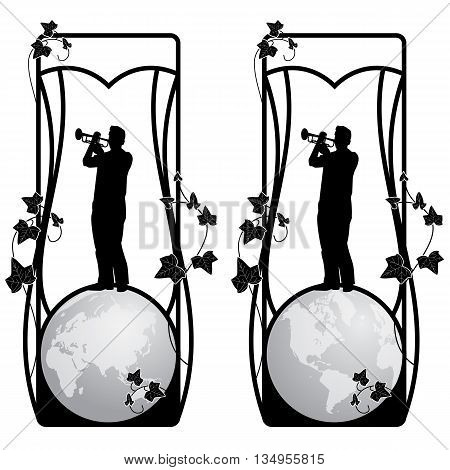 set of vector frame with trumpeter globe and ivy in black and white