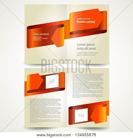 brochure design template booklet red arrow ribbon