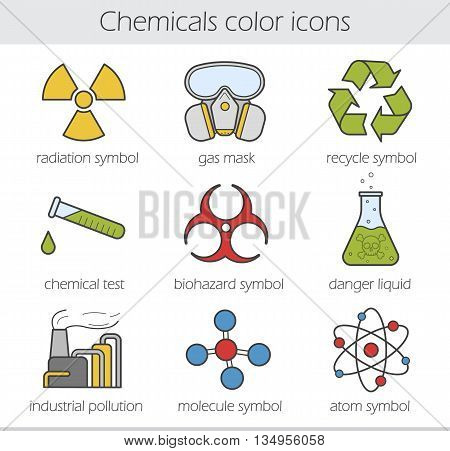 Chemical industry color icons set. Gas mask, recycle symbol, chemical test tube, poison danger, factory pollution. Biohazard, radiation, atom and molecule symbols. Vector isolated illustrations