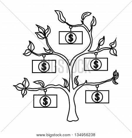 Money tree icon in outline style on a white background