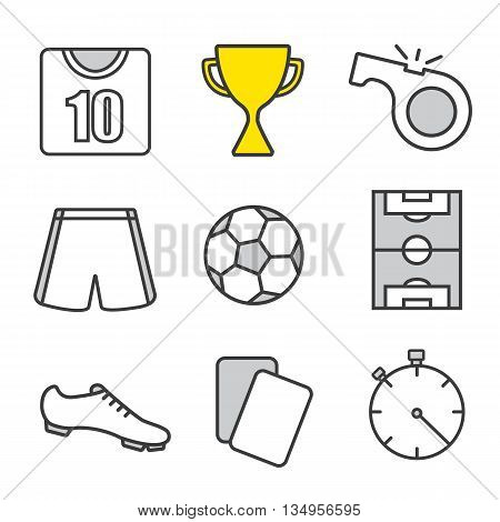 Soccer linear icons set. Football player kit, winner's cup, referee's whistle and cards, ball, field, stopwatch. Thin line. Isolated vector illustrations