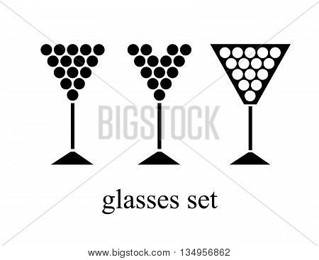 set of wine glasses with grape. vector