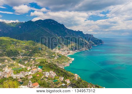 Amazing View Of Amalfi Coast And Town Of Maiori From Ravello Village, Campania Region, South Of Ital