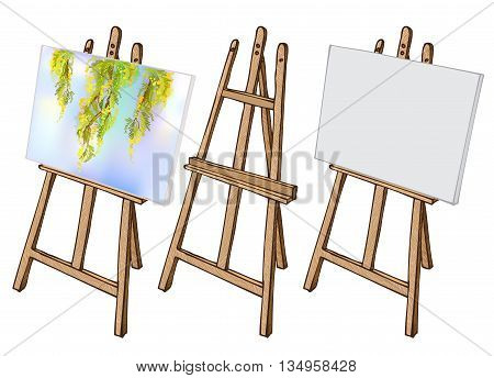 Wooden painting easel with blank canvas. Cartoon coloful sketch style easel isolated on white background. Easel with blank canvas, with floral picture and empty easel. Vector illustration stock vector