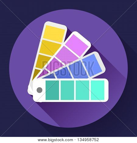 Color guide swatches palette - typographic fan icon. Flat design style