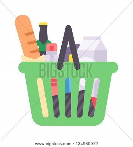 Shopping basket full of healthy organic fresh and natural food. Flat vector shop product basket icon. Shop product basket retail store shopping supermarket plastic handle basket.