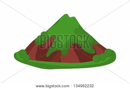Volcano icolated blowing up with lava flowing down vector illustration. crater mountain volcano isolated hot natural eruption nature. Volcano erupt ash fire hill landscape isolated.