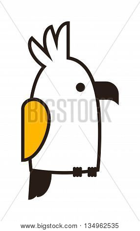 Clever speaking outline parrot sits on wooden pole, black outline silhouette on white background. Vector outline parrot bird sketch tattoo abstract macaw pet. Wild tropical cartoon parrot.