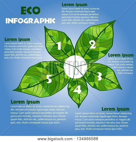 Eco green info graphic concept poster vector illustration Infographic with triangular leaves and inscriptions options on environmental issues on a blue background