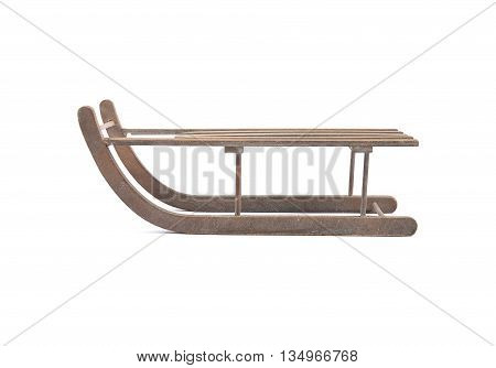 Colorful and crisp image of wodden sleigh on white background