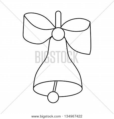 Bell with bow icon in outline style on a white background