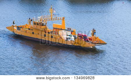Nora By Sta Road Ferries. Yellow Ro-ro Cargo Ship