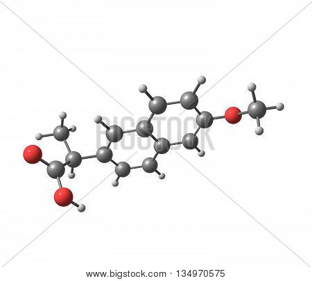 Naproxen is a nonsteroidal anti-inflammatory drug - NSAID - of the propionic acid class. 3d illustration