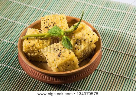 favourite Gujrati snack, khaman Dhokla made up of gram flour, semolina