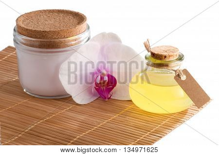 Spa still life with essential oil isolated on white