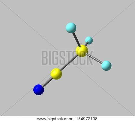 Acetonitrile is the chemical compound with the formula CH3CN. It is produced mainly as a byproduct of acrylonitrile manufacture. It is used as a polar aprotic solvent in organic synthesis and in the purification of butadiene. 3d illustration