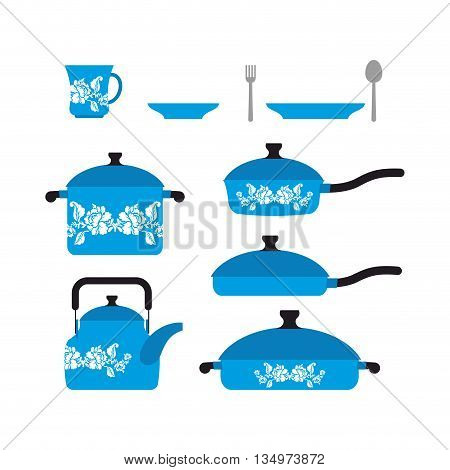 Set Of Dishes For Cooking. Cookware: Cup And Saucer. Frying Pan And Saucepan. Knife And Fork. Set Bl