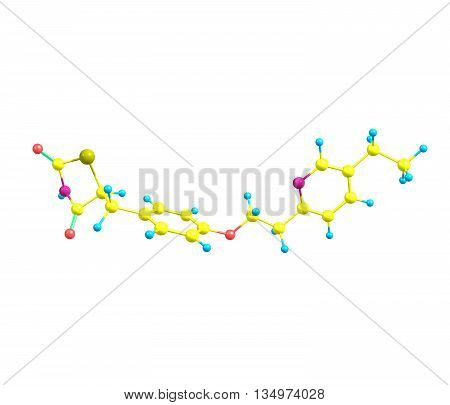 A model of Pioglitazone an antihyperglycemic drug used in the treatment of type 2 diabetes - non-insulin-dependent diabetes. Isolated on white. 3d illustration