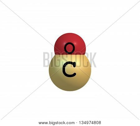 Carbon monoxide - CO is a colorless odorless and tasteless gas that is slightly less dense than air. It is toxic to humans and animals. 3d illustration