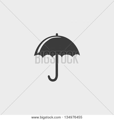 Umbrella icon in a flat design in black color. Vector illustration eps10