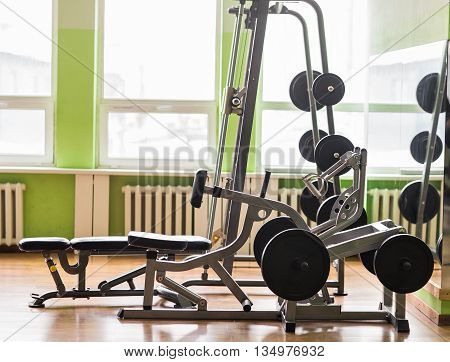 Old gym interior with many old equipment