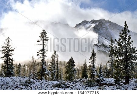 Chaos Crags at Lassen Volcanic National Park as a spring storm clears the mountains