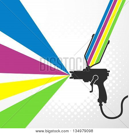Airbrush or spray gun with paint vector