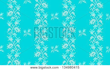 Seamless embroidered texture of abstract flat white blue flowers roses for cloth, wallpaper