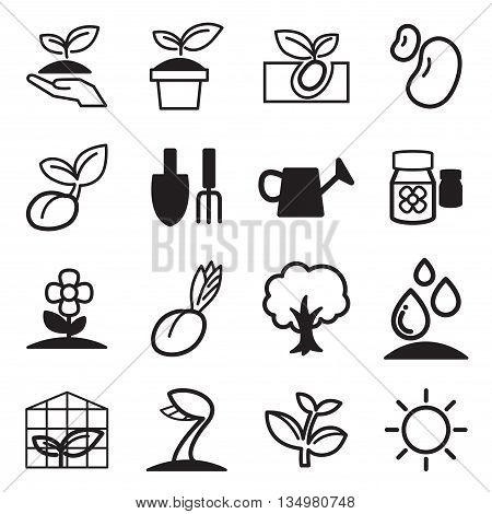 cultivate & Plant Grow icons set Vector illustration Graphic design