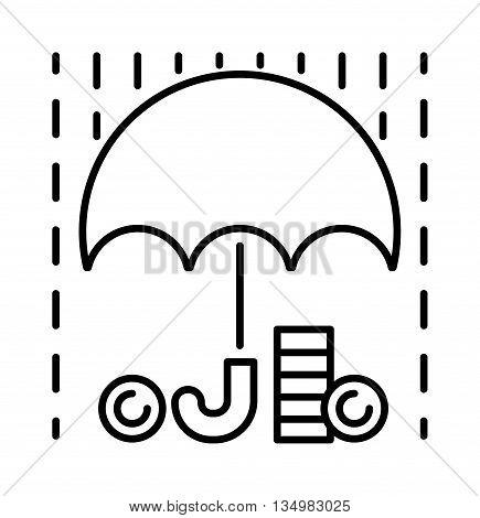 Money rain and umbrella sign line icon and money finance sign.