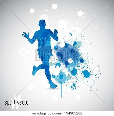 Vector illustration: running man. Spray watercolor paint