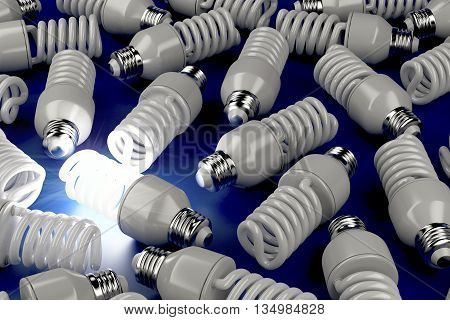 One glowing light bulb different from the others, 3D illustration