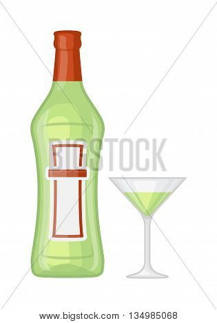 Alcohol martini bottle and glass martini restaurant liquid vector. T