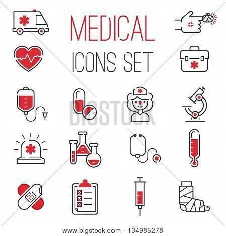 Medical icons set over white background. Set care heart ambulance hospital, emergency medical icons. Vector syringe pharmacy clinic web medical icons. Human laboratory chemical microscope symbols.