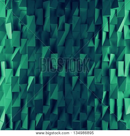 Turquoise abstract squares backdrop. 3d rendering geometric polygons, as tile wall. Interior room