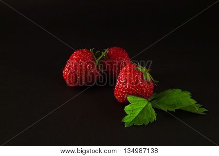 Three strawberries with leaves on a black background. Blackout photos. Focus on berries with leaves