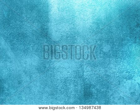 Blue background abstract - cyan painted plaster wall texture with shiny light